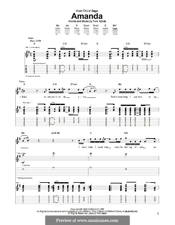 Amanda (Boston): For guitar with tab by Tom Scholz