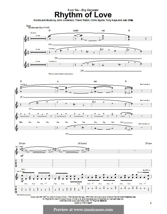 Rhythm of Love (Yes): For guitar with tab by Alan White, Chris Squire, Jon Anderson, Tony Kaye, Trevor Rabin