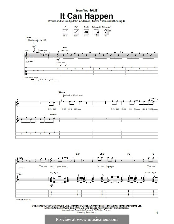 It Can Happen (Yes): For guitar with tab by Chris Squire, Jon Anderson, Trevor Rabin