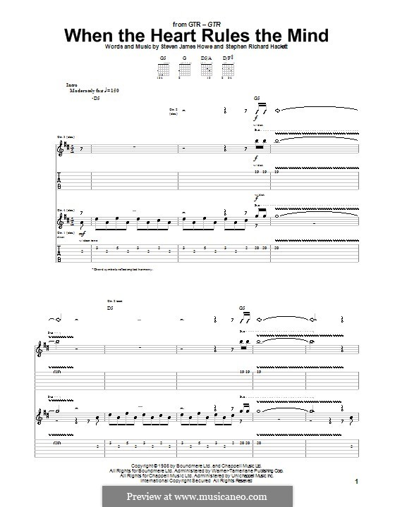 When the Heart Rules the Mind (GTR): For guitar with tab by Steve Hackett, Steve Howe