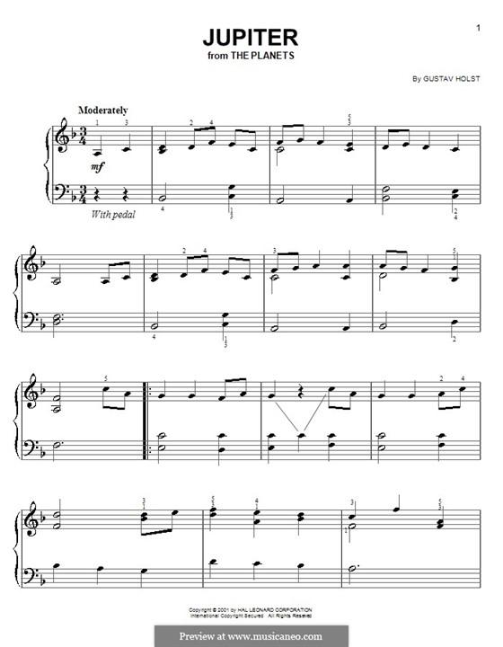 Jupiter: Version for easy piano by Gustav Holst