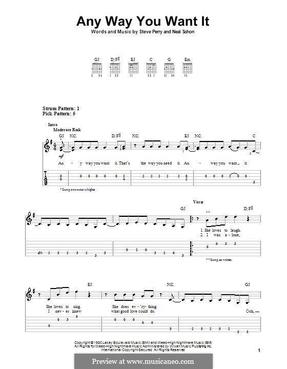 Any Way You Want It (Journey): For guitar (very easy version) by Neal Schon, Steve Perry