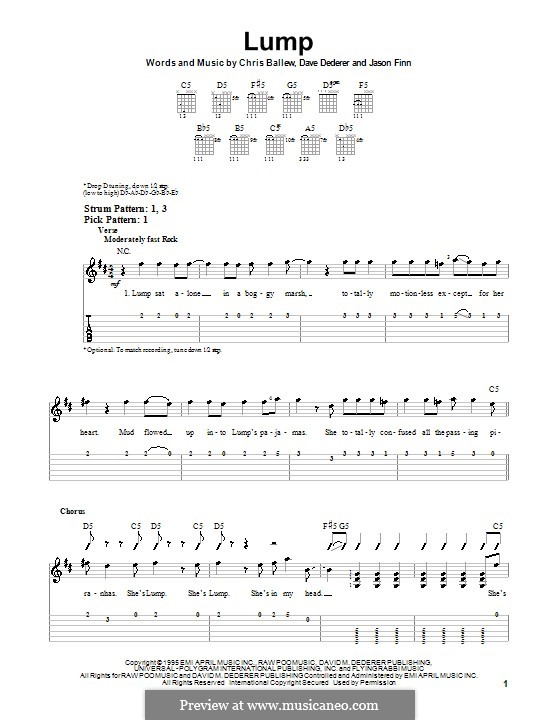 Lump (Presidents of The United States of America): For guitar (very easy version) by Chris Ballew, David Dederer, Jason Finn
