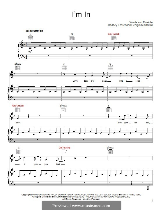 I'm in (Keith Urban): For voice and piano (or guitar) by Georgia Middleman, Radney Foster