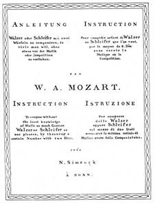 Musikalisches Würfelspiel, K.294d: Musikalisches Würfelspiel by Wolfgang Amadeus Mozart