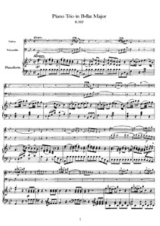 Trio for Violin, Cello and Piano in B Flat Major, K.502: Full score by Wolfgang Amadeus Mozart
