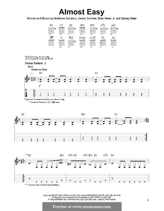 Almost Easy (Avenged Sevenfold): For guitar (very easy version) by Brian Haner Jr., James Sullivan, Matthew Sanders, Zachary Baker