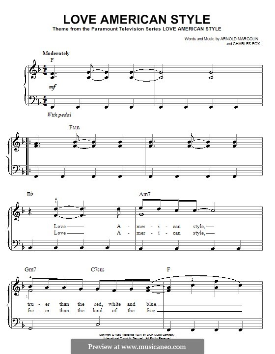 Love American Style (from the TV Series): For easy piano by Charles Fox