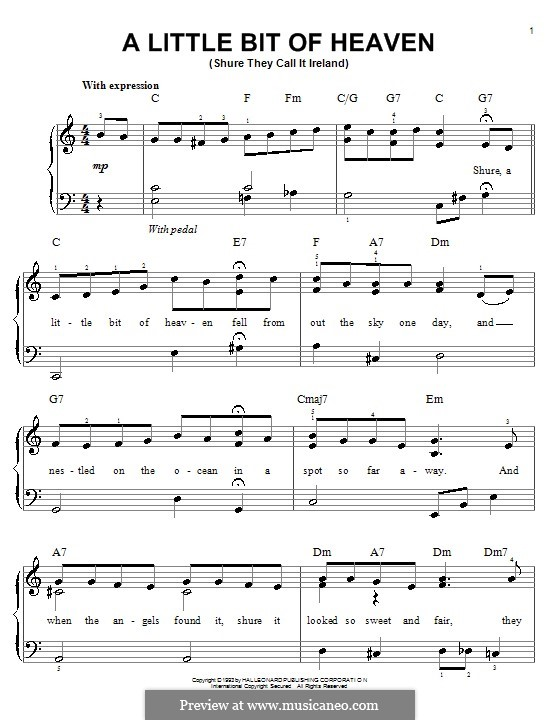 A Little Bit of Heaven: For easy piano by Ernest R. Ball