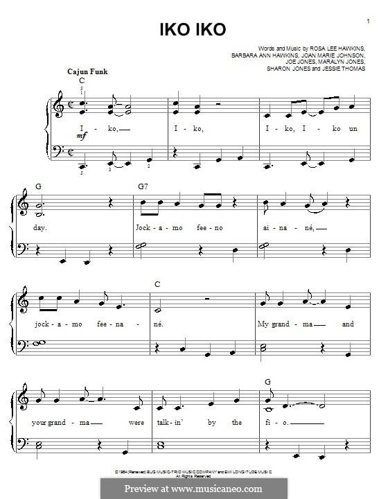 Iko Iko (The Dixie Cups): For easy piano by Barbara Ann Hawkins, Jessie Thomas, Joan Marie Johnson, Joe Jones, Maralyn Jones, Rosa Lee Hawkins, Sharon Jones