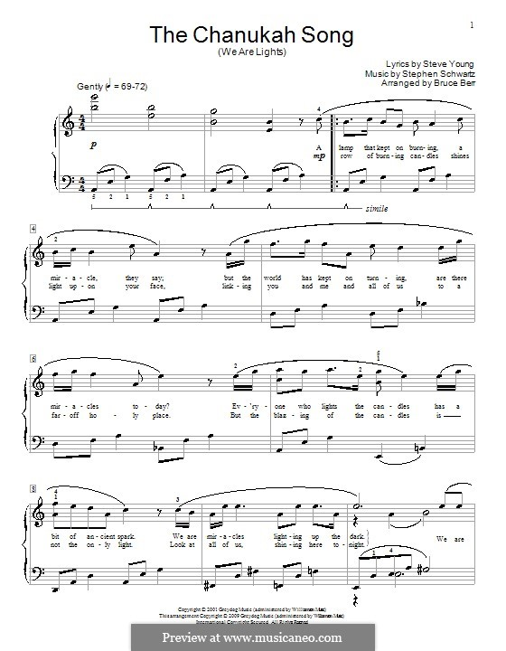 The Chanukah Song (We Are Lights): For piano by Stephen Schwartz