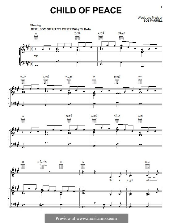 Child of Peace (Sandi Patty): For voice and piano (or guitar) by Bob Farrell