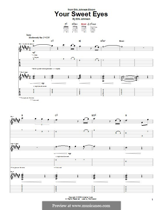 Your Sweet Eyes: For guitar with tab by Eric Johnson