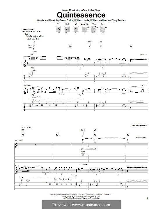 Quintessence (Mastodon): For guitar with tab by Brann Dailor, Troy Sanders, William Hinds, William Kelliher