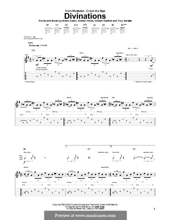 Divinations (Mastodon): For guitar with tab by Brann Dailor, Troy Sanders, William Hinds, William Kelliher