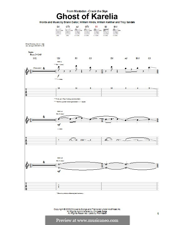 Ghost of Karelia (Mastodon): For guitar with tab by Brann Dailor, Troy Sanders, William Hinds, William Kelliher