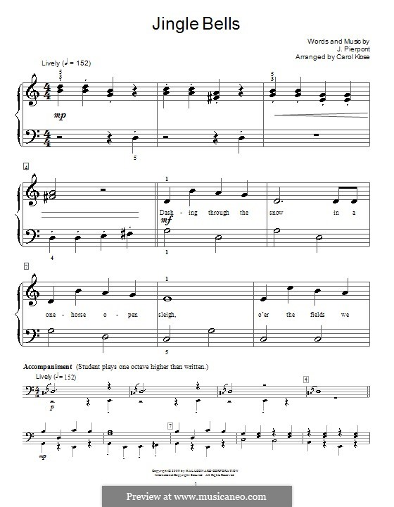 Jingle Bells, for Piano: Version for easy piano (with lyrics) by James Lord Pierpont