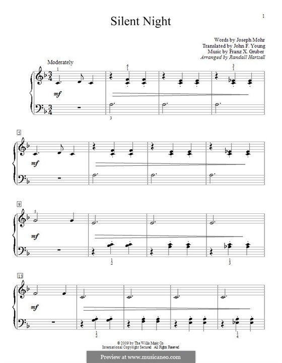 Silent Night, for Piano: In F Major by Franz Xaver Gruber