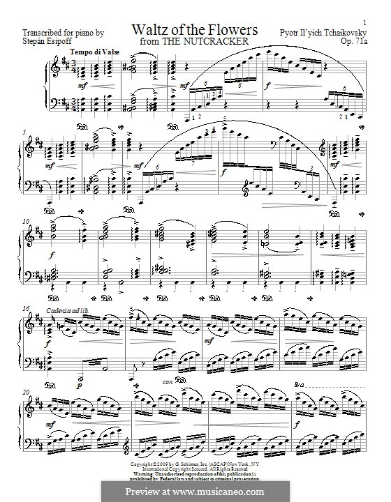 No.8 Waltz of the Flowers: For piano by Esipoff by Pyotr Tchaikovsky