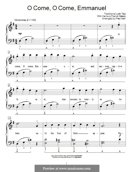 O Come, O Come, Emmanuel: For easy piano by folklore