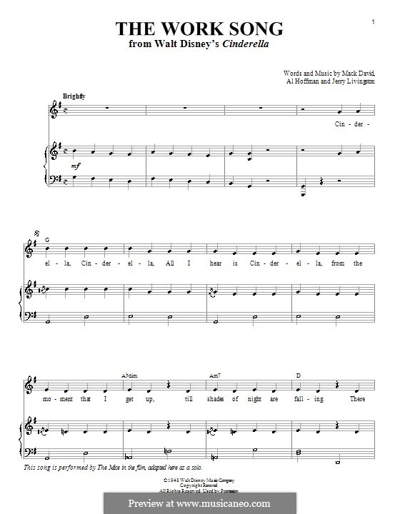 The Work Song (Mack David): For voice and piano (or guitar) by Al Hoffman, Jerry Livingston