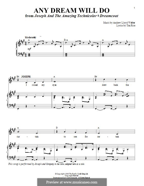 Any Dream Will Do: For voice and piano or guitar (A Major) by Andrew Lloyd Webber