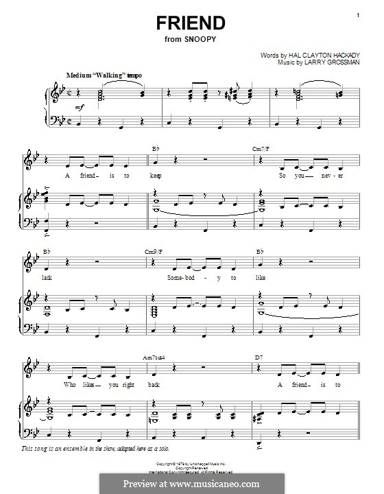 Friend (Hal Clayton Hackady): For voice and piano (or guitar) by Larry Grossman