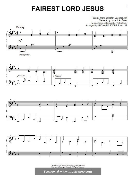 Fairest Lord Jesus: For piano (high quality sheet music) by folklore