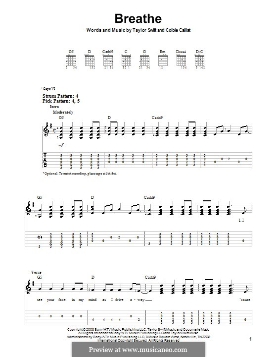 Breathe by T. Swift - sheet music on MusicaNeo
