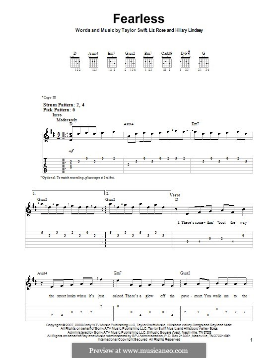 Fearless (Taylor Swift): For guitar (very easy version) by Hillary Lindsey, Liz Rose
