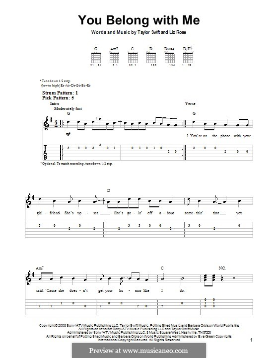 You Belong with Me (Taylor Swift): For guitar (very easy version) by Liz Rose