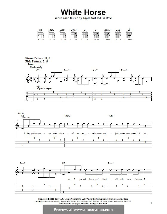White Horse (Taylor Swift): For guitar (very easy version) by Liz Rose