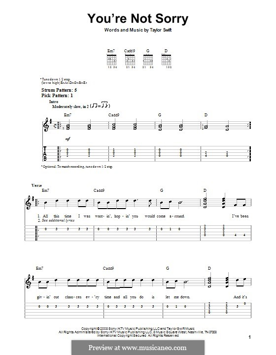 Guitar guitar chords sorry : You're Not Sorry by T. Swift - sheet music on MusicaNeo