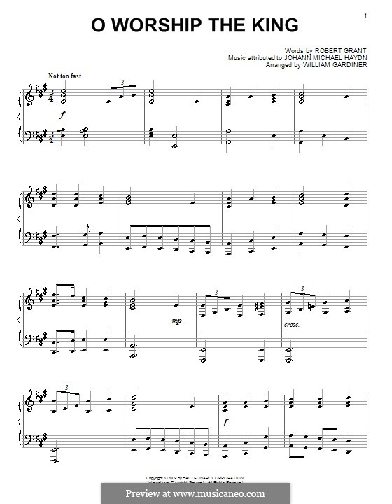 O Worship The King: For piano (A Major) by Michael Haydn
