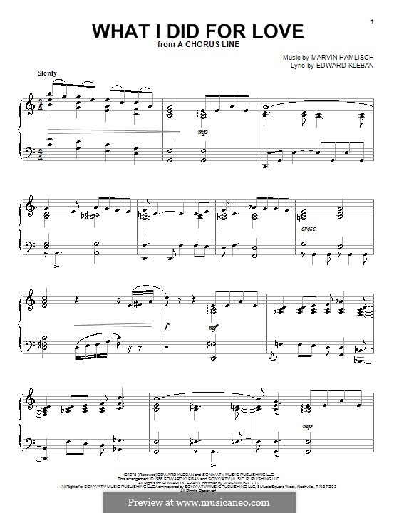 What I Did for Love (Priscilla Lopez): For piano by Marvin Hamlisch