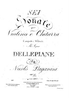 Six Sonatas for Violin and Guitar, Op.2: Parts by Niccolò Paganini
