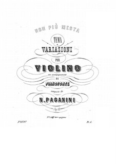 Variations on 'Non più mesta' fir Violin and Piano, Op.12: Variations on 'Non più mesta' fir Violin and Piano by Niccolò Paganini