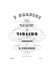 Variations on 'I Palpiti' for Violin and Piano, Op.13: Score, solo part by Niccolò Paganini