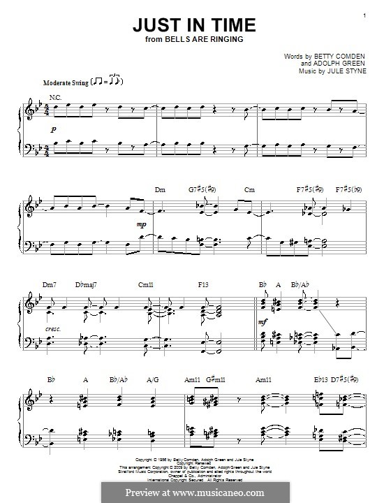 Just in Time (Frank Sinatra): For piano by Jule Styne