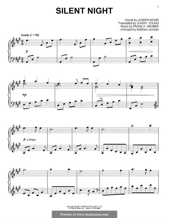Silent Night, for Piano: In A Major by Franz Xaver Gruber