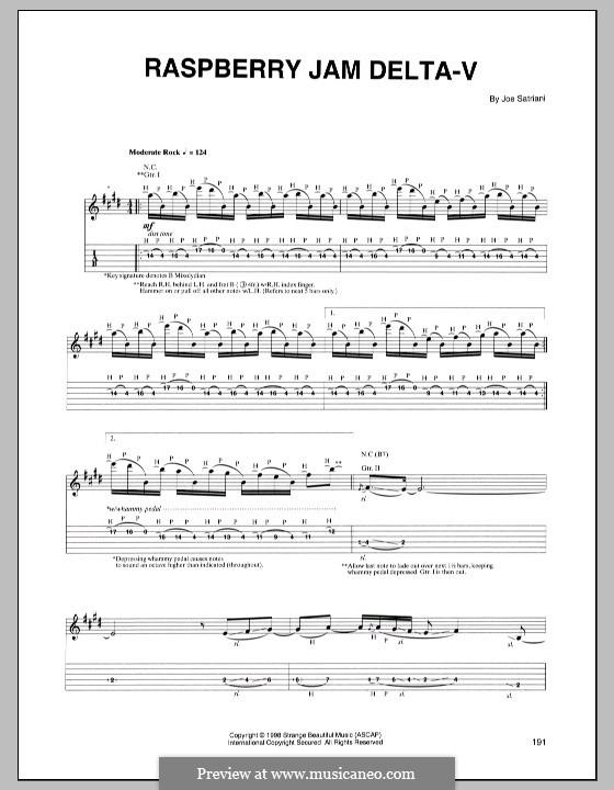 Raspberry Jam Delta-V: For guitar with tab by Joe Satriani
