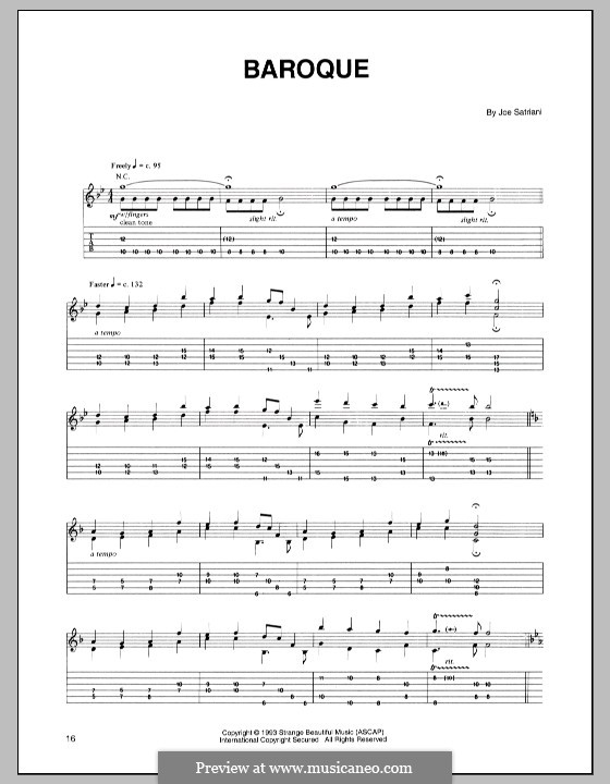 Baroque: For guitar with tab by Joe Satriani