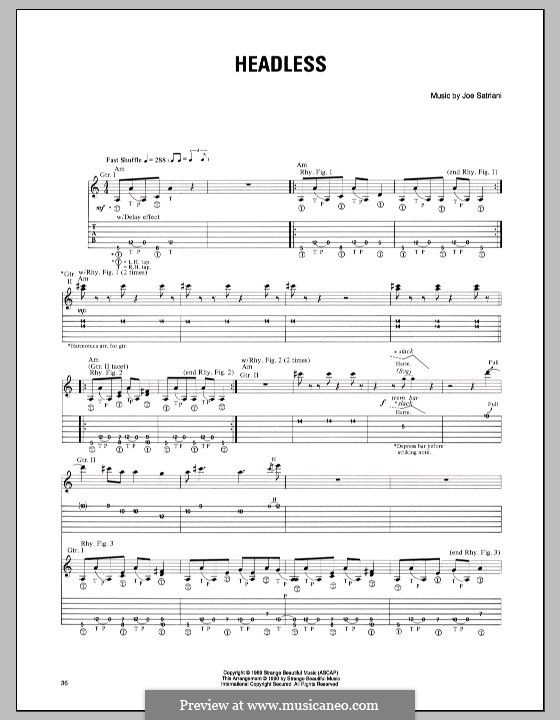 Headless: For guitar with tab by Joe Satriani