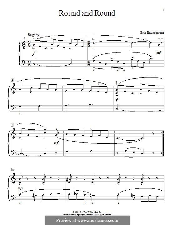 Round and Round: For piano by Eric Baumgartner