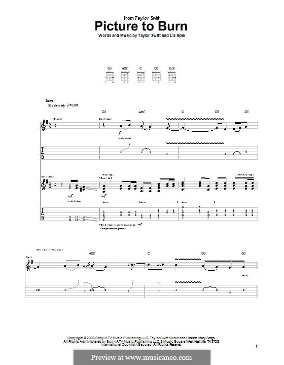 Picture to Burn (Taylor Swift): For guitar with tab by Liz Rose