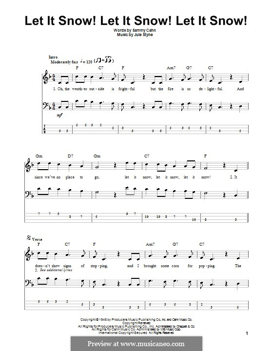 Let It Snow! Let It Snow! Let It Snow!: For bass guitar with tab by Jule Styne