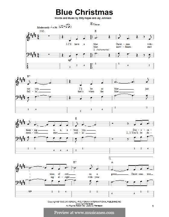 Blue Christmas: For bass guitar with tab by Billy Hayes, Jay Johnson