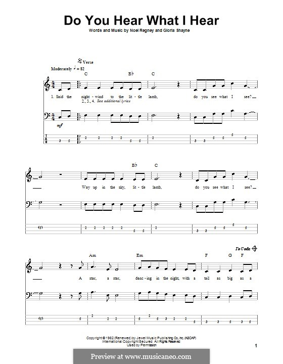 Do You Hear What I Hear: For bass guitar with tabulature by Gloria Shayne, Noël Regney