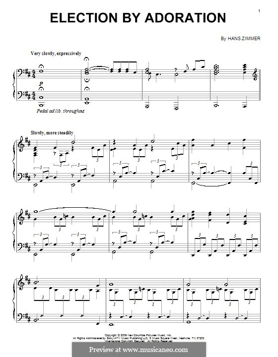 Election By Adoration: For piano by Hans Zimmer