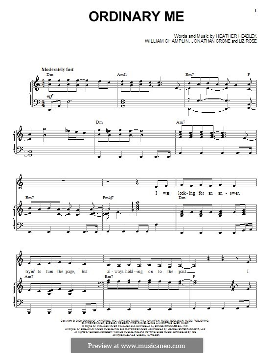 Ordinary Me (Heather Headley): For voice and piano (or guitar) by Bill Champlin, Jonathan Crone, Liz Rose
